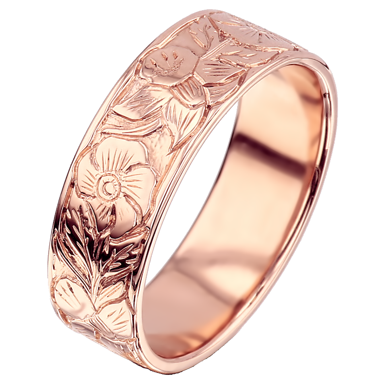 Gold Hand Engraved Ring