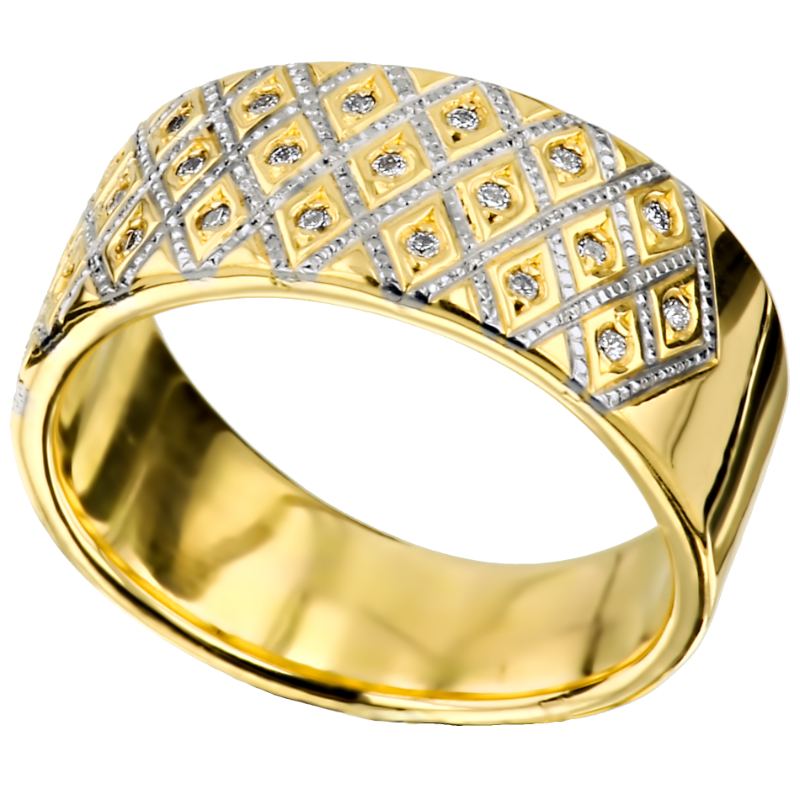 bicolor gold inlay ring